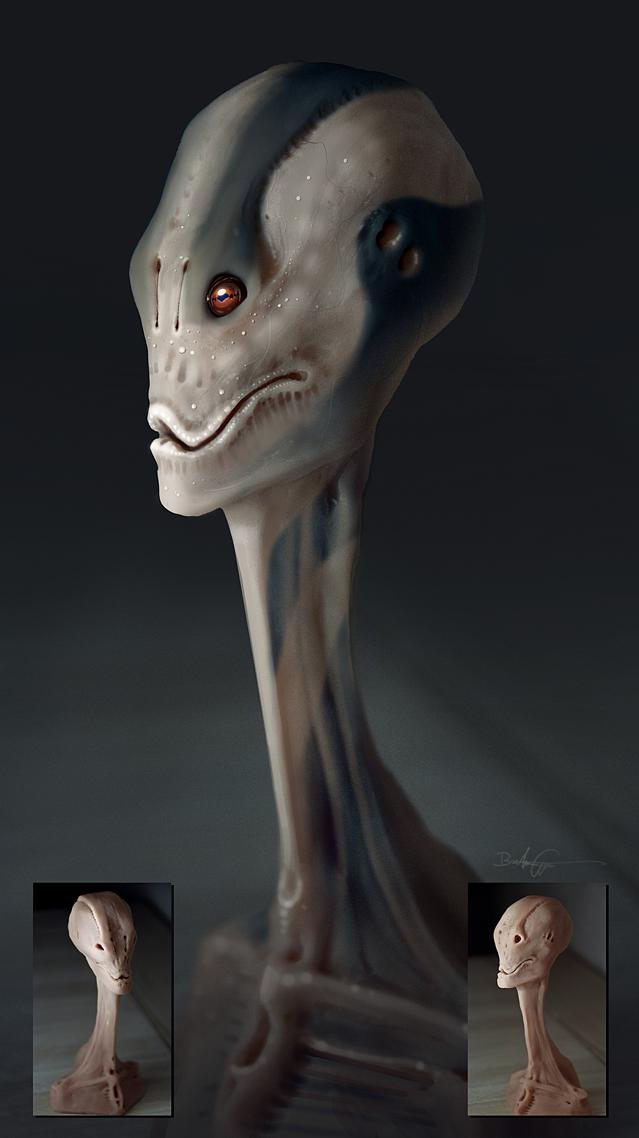 Alien Concept Sculpting Test I by Grivetart