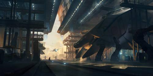 COSMOS 14 - Spaceport by Grivetart