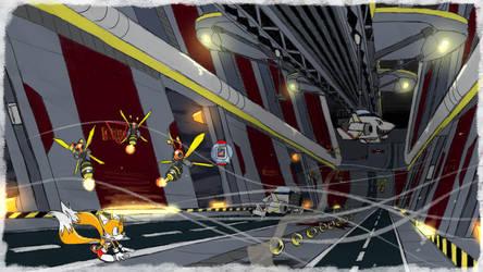 Tails Sky Deck Hangar - SA1 Remake Fan Concept Art