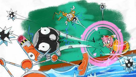 Amy Hammer Pinballing - SA1 Remake Fan Concept Art
