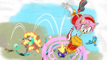 Amy Enemy Bouncing - SA1 Remake Fan Concept Art