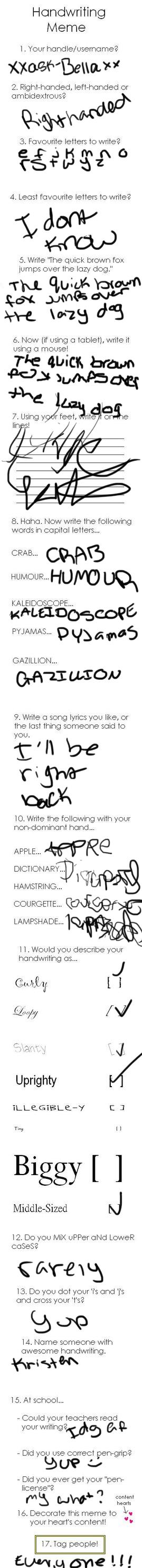 Handwriting Meme by xxask-Bellaxx