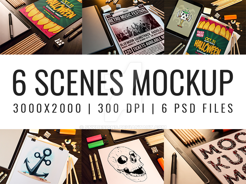 6 Scenes Mockup Pack by snkdesigns