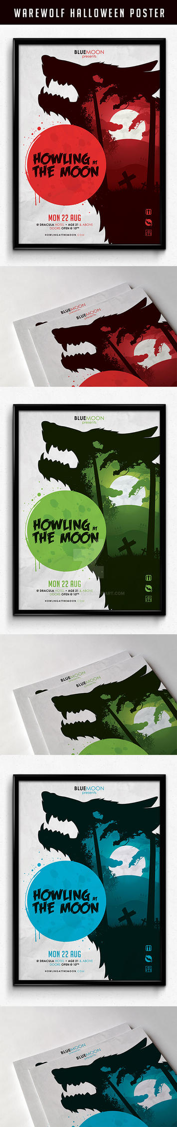 Warewolf Halloween Illustration Poster by snkdesigns