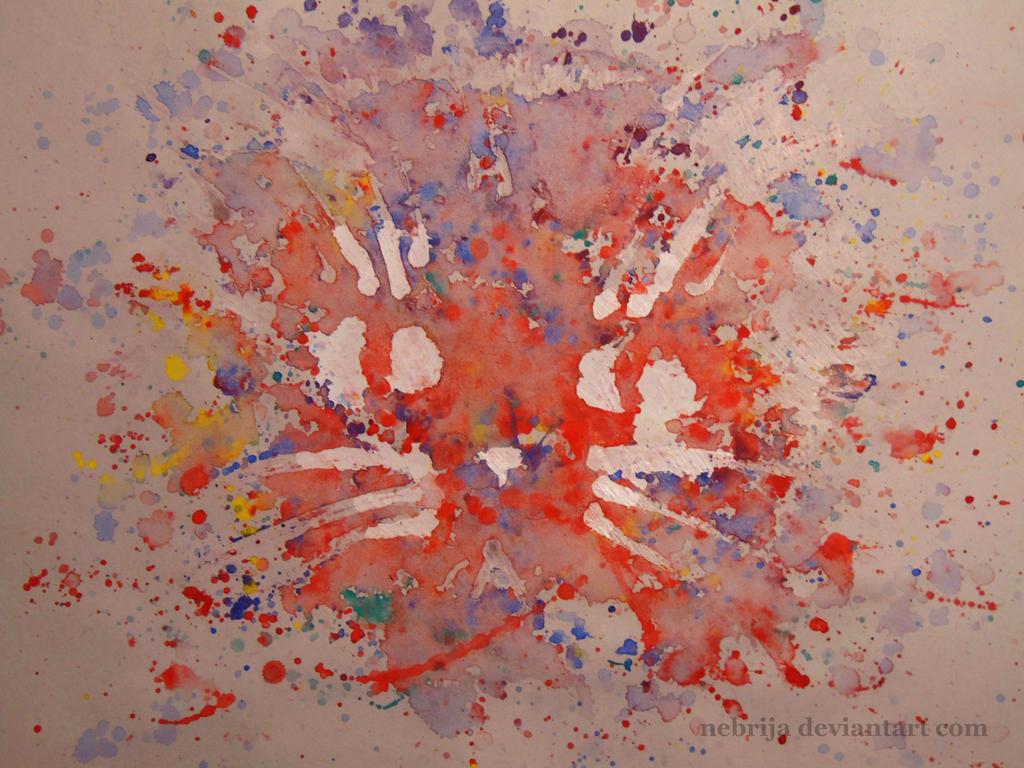 watercolor cat by Nebrija