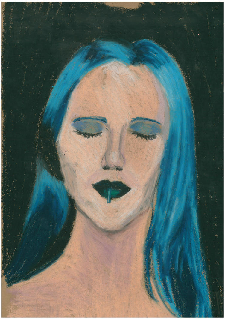 Mordsith Cara oil pastel portrait by oluklu