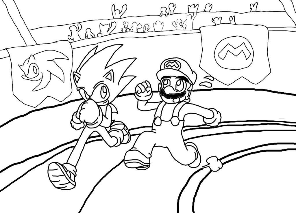Sonic vs Mario Racing :Lineart: by Xero-J on DeviantArt