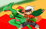 Hoenn Heroes: Brendan and Mega Sceptile by Xero-J