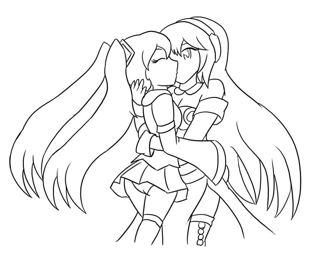 coloring pages baylee jae - miku x luka backwards compatibility lineart by xero j