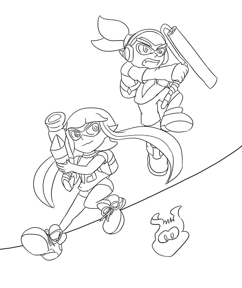 Splatoon lineart by xero j on deviantart for Splatoon coloring pages