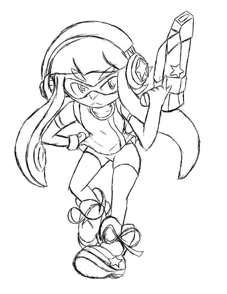 Splatoon x star 108 lineart by xero j on deviantart for Splatoon coloring pages