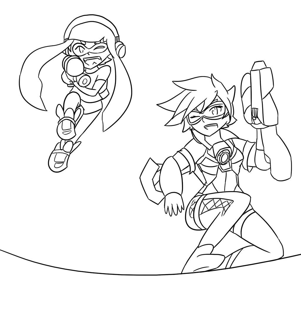 Splatoon vs overwatch lineart by xero j on deviantart for Splatoon coloring pages