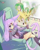 PokeShipping: Espeon and Leafeon!! by KuraienzeruHiruyay