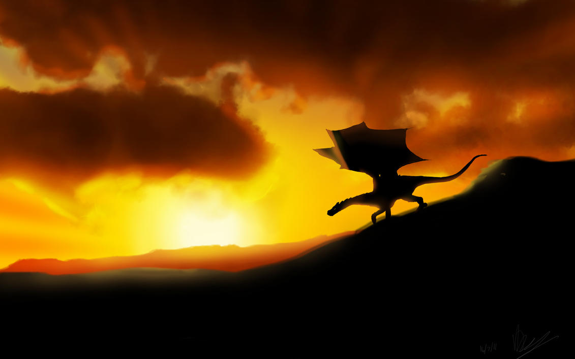 Fantasy Dragon Is Sitting On A Rock During Sunset HD ... |Dragons And Sunsets