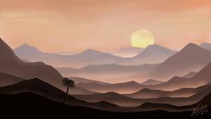 Puesta De Sol Entre Montanas