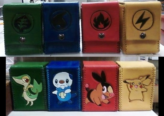 Hand tooled leather Pokemon deck box by MurdocsLuver on