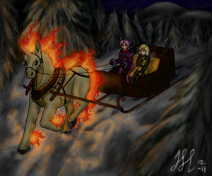 CP: Riding through the wintery forest by Eiliakins