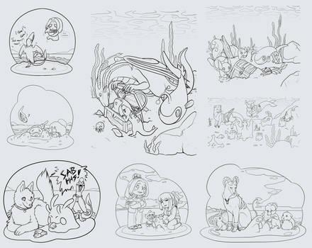 SL: So Many Pokemon Collab Linearts!