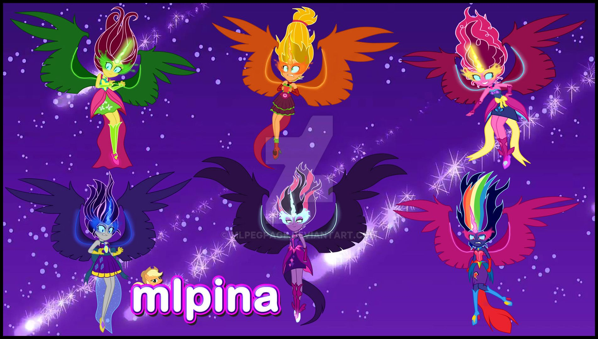 mlp mane 6 transform into human evil equestria by