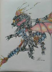 Red eyes flare metal dragon