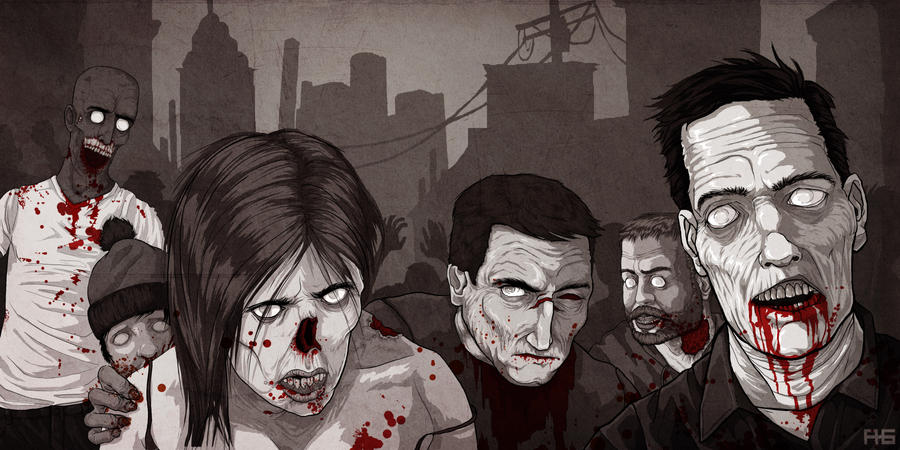 Zombies black and white by rougaroux