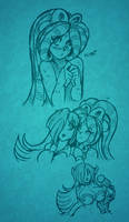 Ruby and Azura Sketches p2