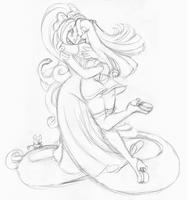 Azura and Ruby hug sketch by AkuOreo