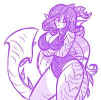 Kaiju girl Sketch by AkuOreo