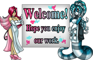 Ruby and Azura Welcome Banner