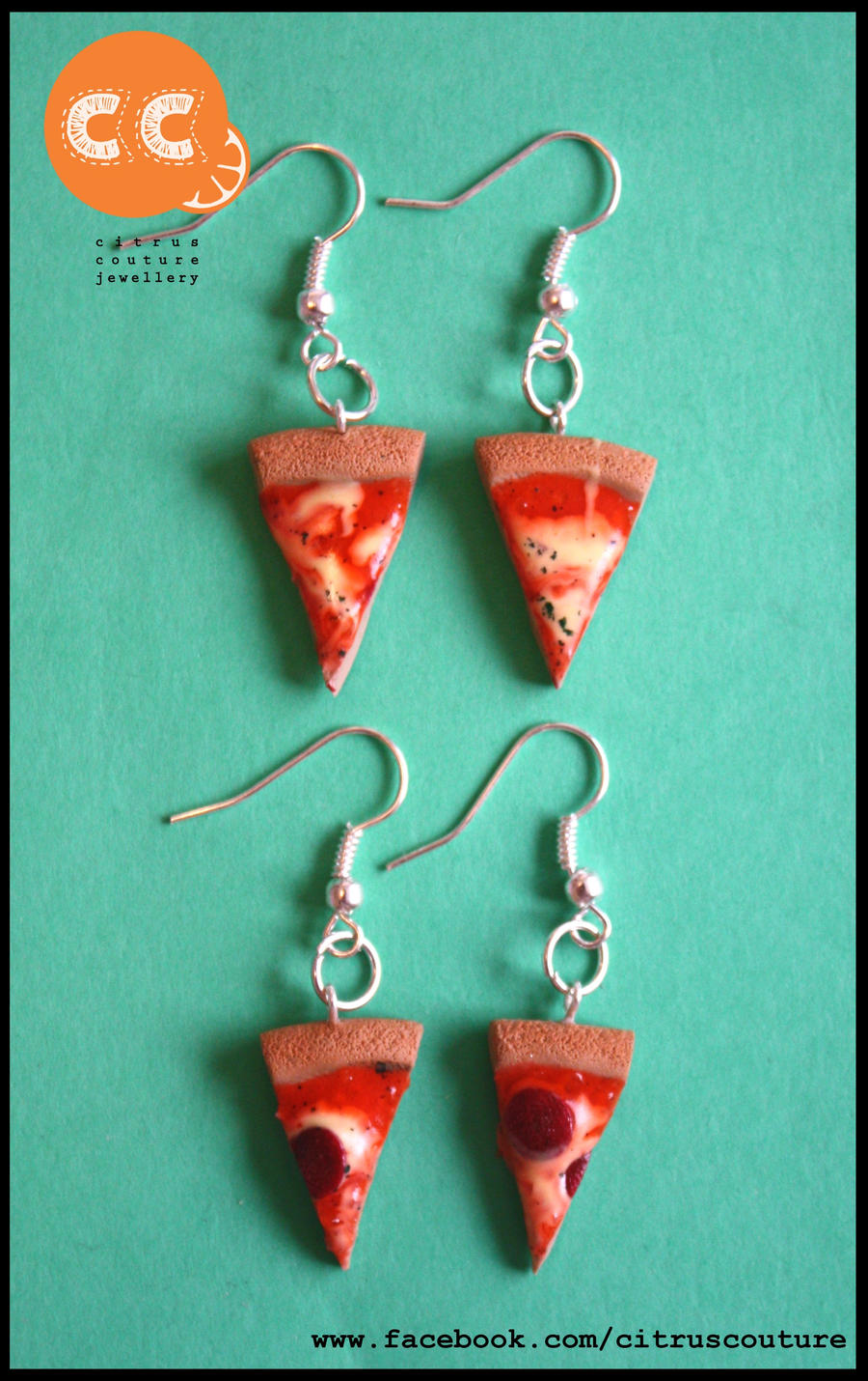 Pizza earrings by citruscouture