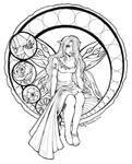 Stained Glass Fairy Lineart