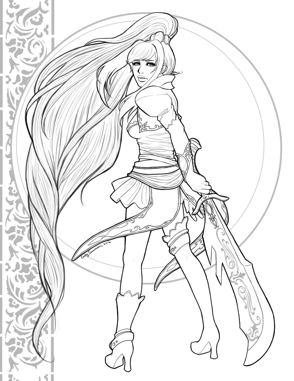 Line Art Character : Guild wars character design lineart by otakuec on deviantart