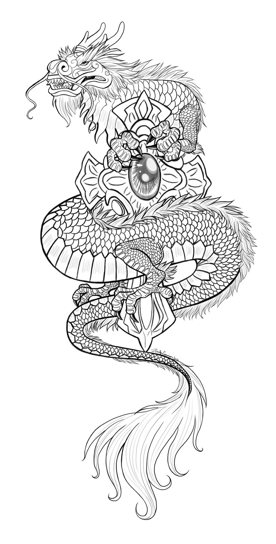 Tattoo Design Line Art : Dragon crucifix tattoo lineart by emilycammisa on deviantart