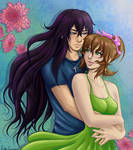 Art Trade: Mikael and Samantha Colored by EmilyCammisa