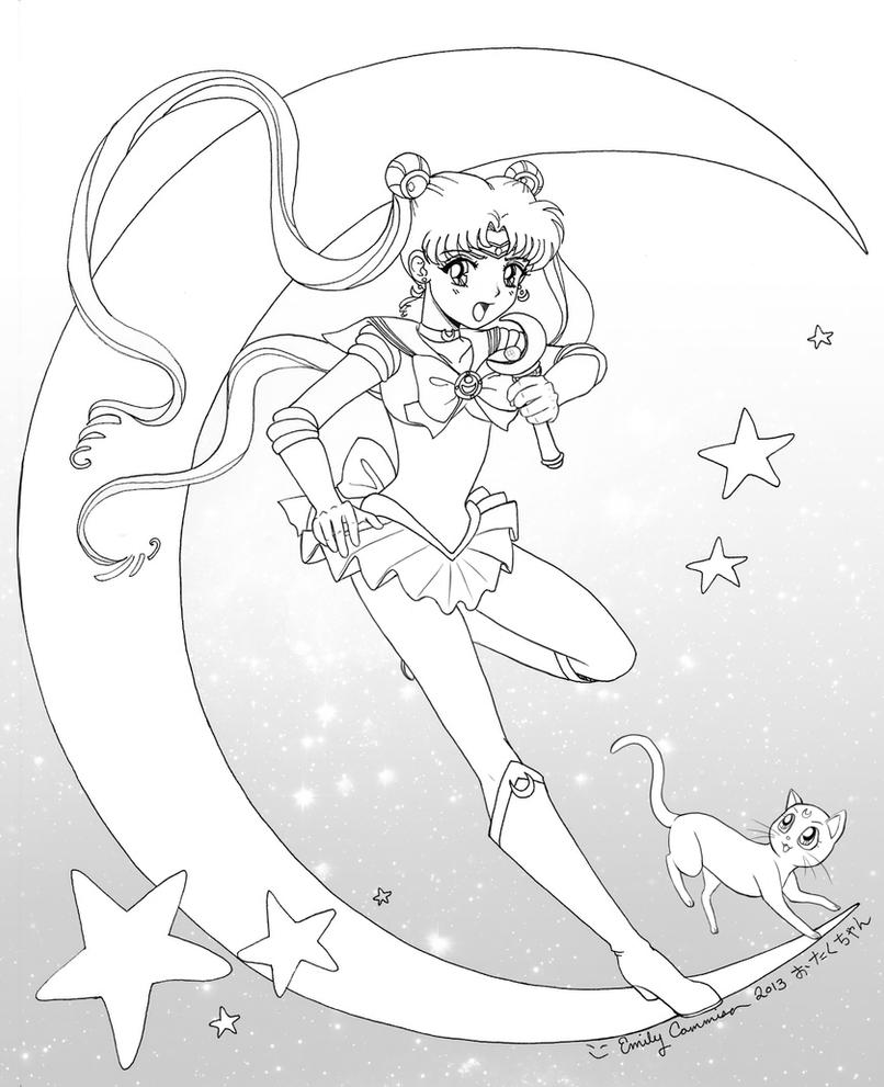 Sailor Moon and Luna Lineart by EmilyCammisa on DeviantArt