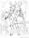 Faun Shaman - Second Version Pencil Sketch