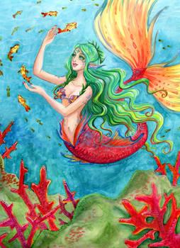 Fire Coral Mermaid