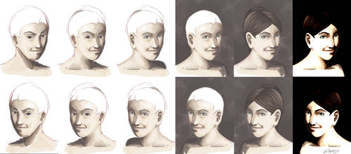 Portrait practice stages by TheraHedwig