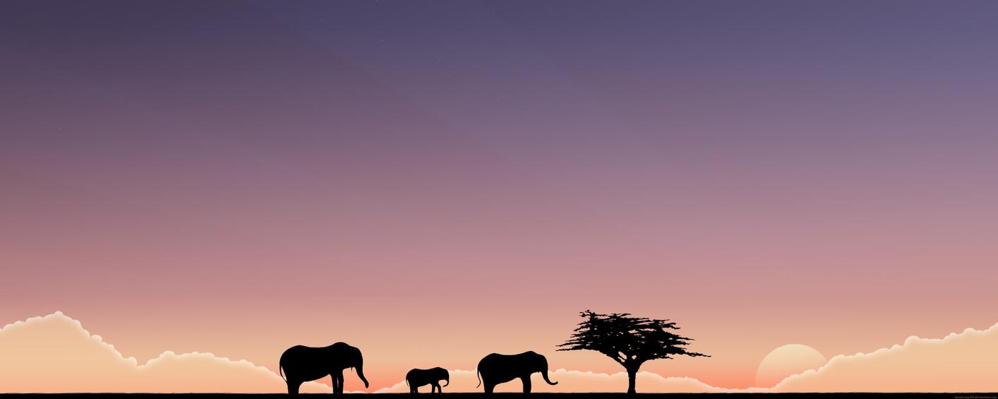 The Elephants. Wide, blue. by lassekongo83