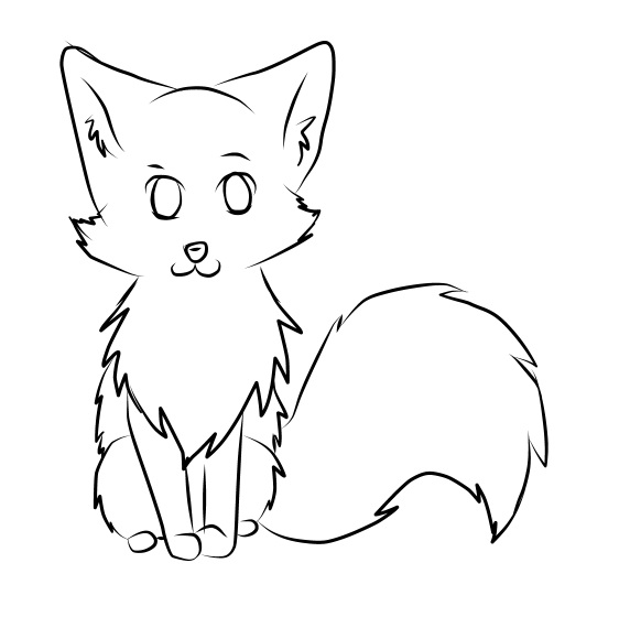 Line Drawing Fox : Chibi fox lineart by nakatu on deviantart