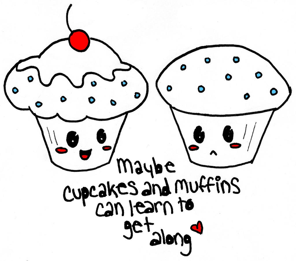 Cupcakes vs muffins recolored by hotdoghea2 on deviantart for Cute muffin drawing