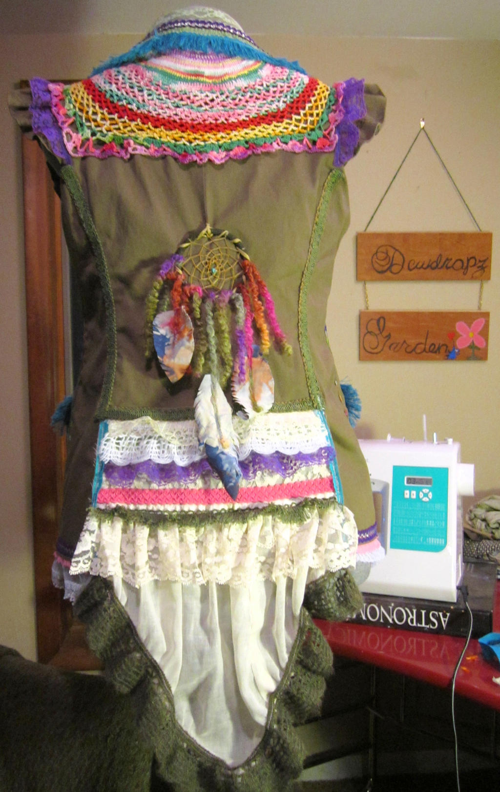 Rainbow Warrior upcycled vest by DewdropzGarden