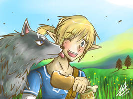 Link And Link Wolf Pintando by oMariLinko