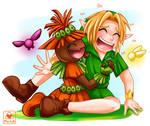 Link and skullkid tickling by oMariLinko