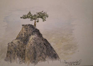 Lone mountain in Crimea (liner and watercolor)