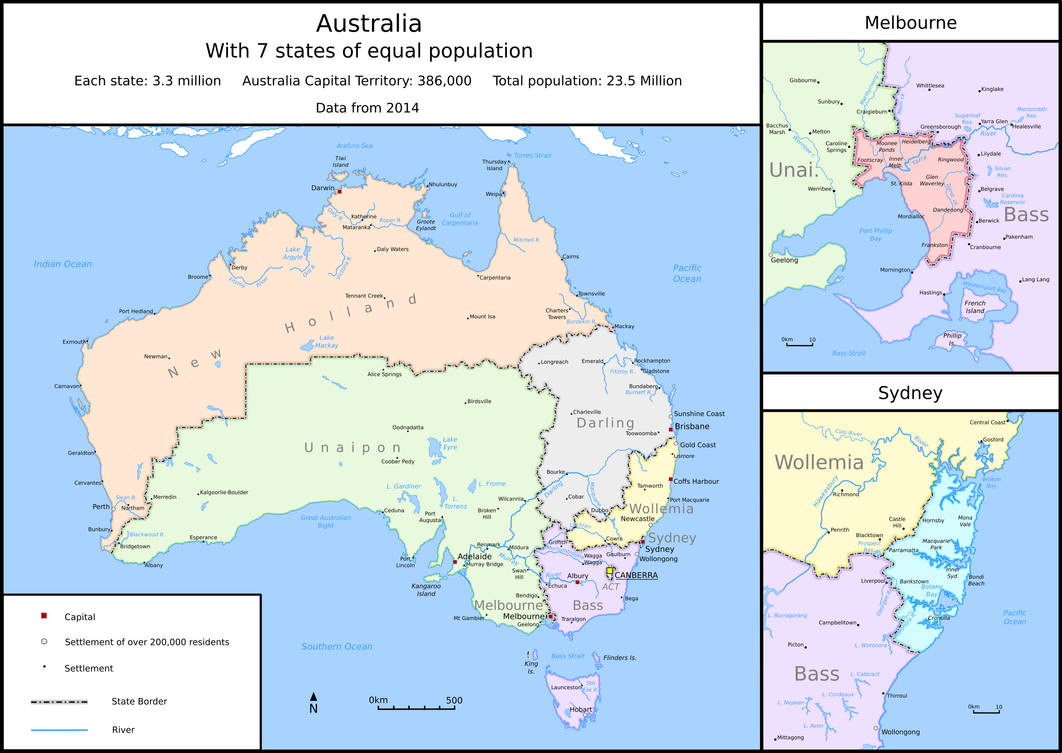 Map Of Australia Showing States.Australia But With 7 States Of Equal Population By Tullamareena On