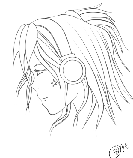 Girl With Headphones Line art by