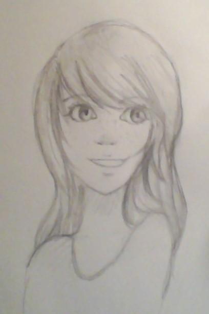 Happy girl sketch by dancinpencil