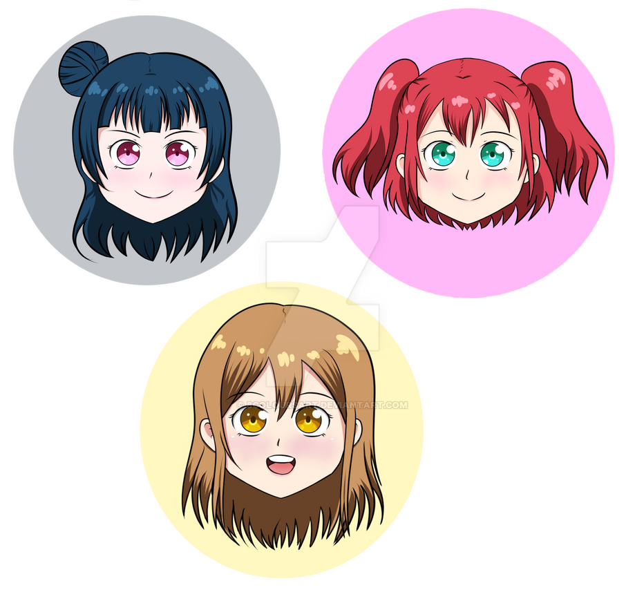 Aqours first year icons by 8coloursart