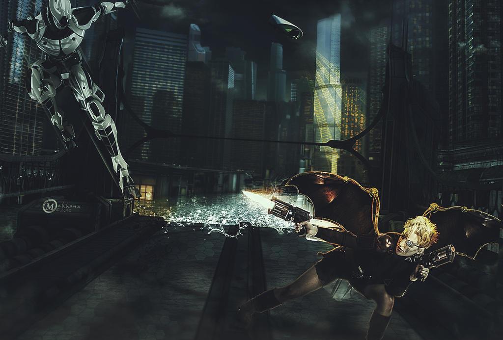 Cyberpunk fight by Mahhona